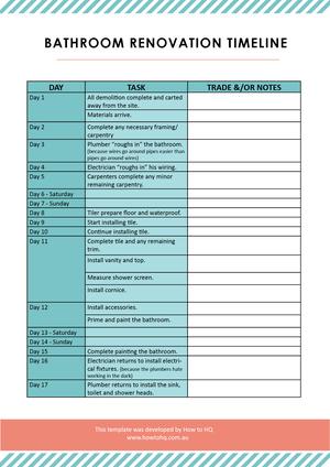 Free Stuff How To HQ - Bathroom renovation timeline