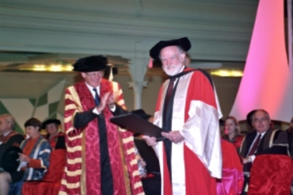 Elery receiving his Honorary Doctorate at RMIT - 2002
