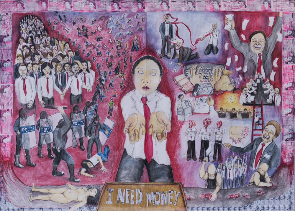 Bettina Fung - I Heart Work; colour pencils on paper; 60x84cm; 2007