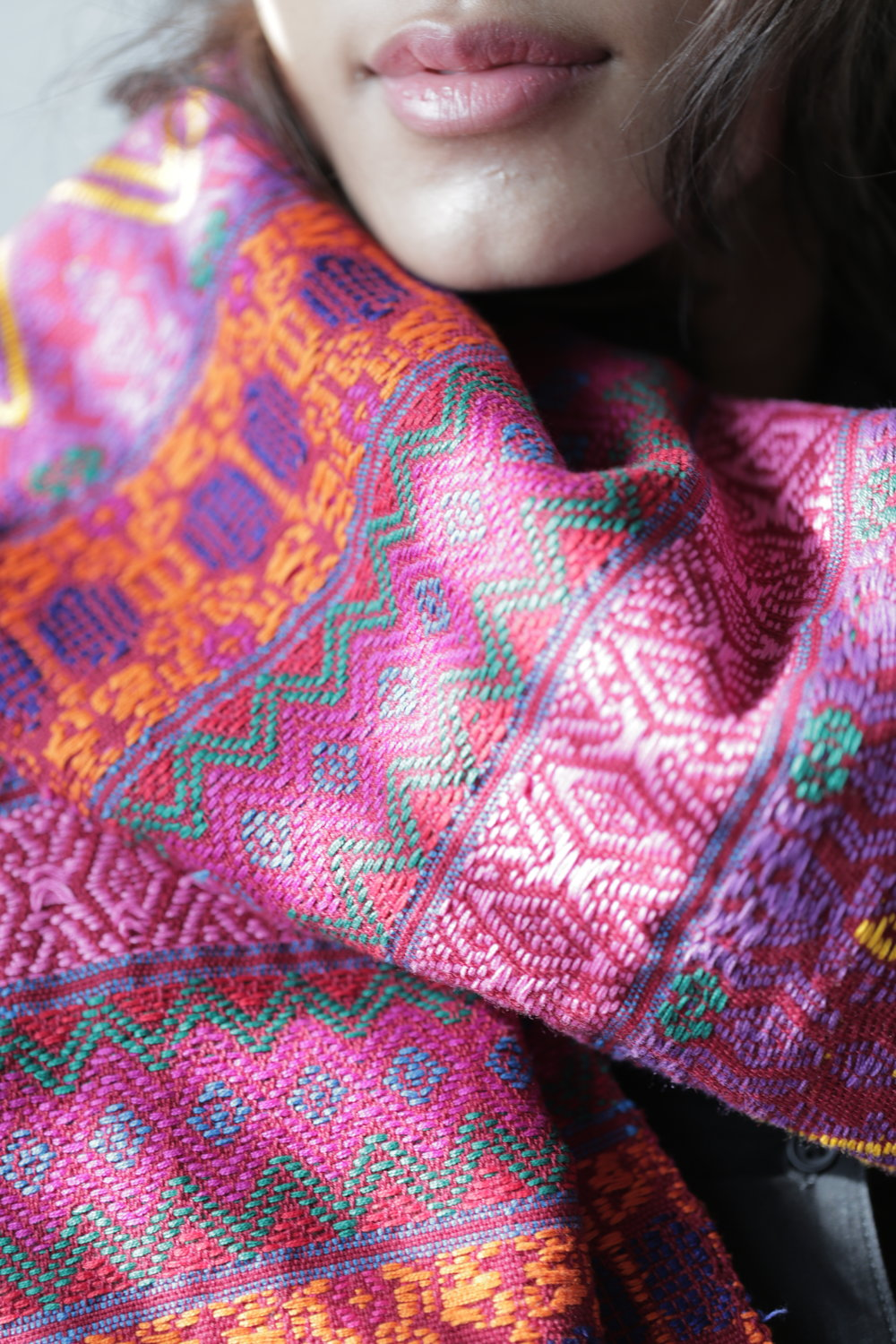 Handmade shawl by  Oralia , with traditional Mayan techniques