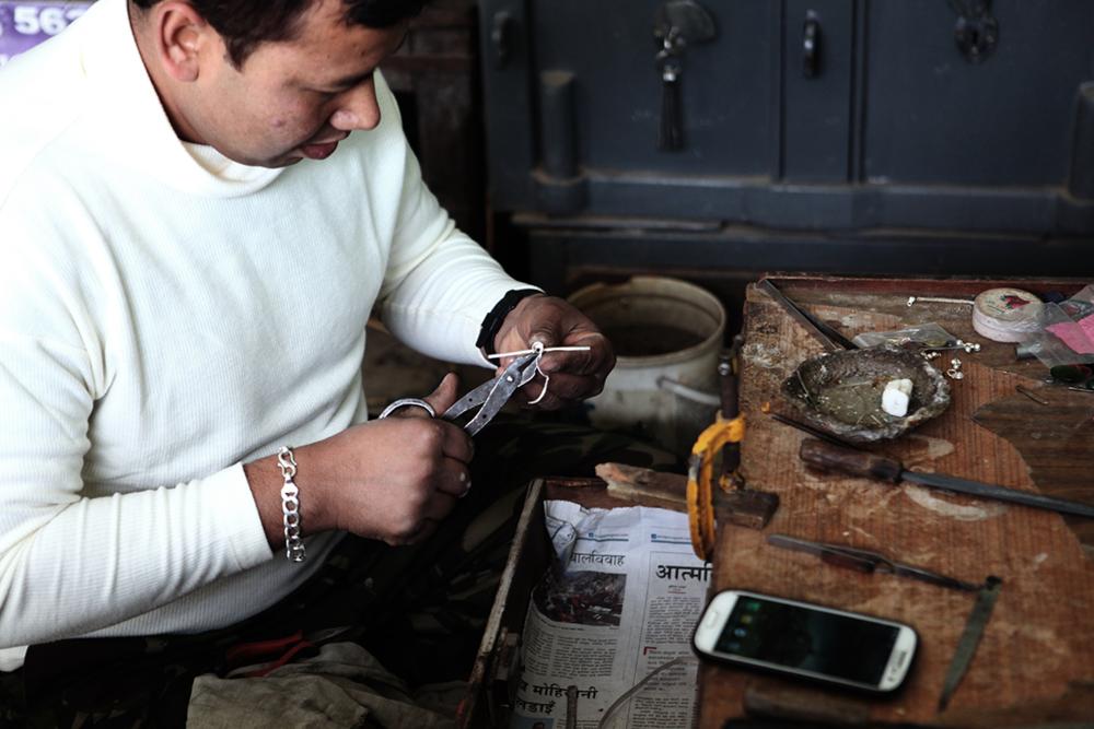 Artisan Prem honing his craftsmanship