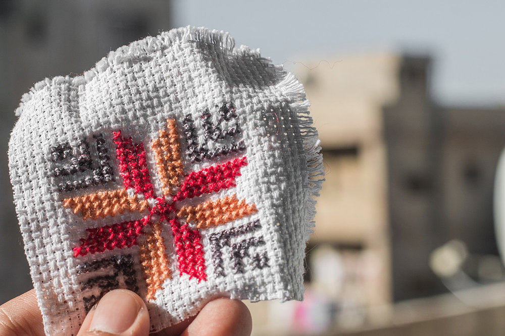 This form of cross-stitch embroidery is distinctly Syrian.   Photography by yours truly.