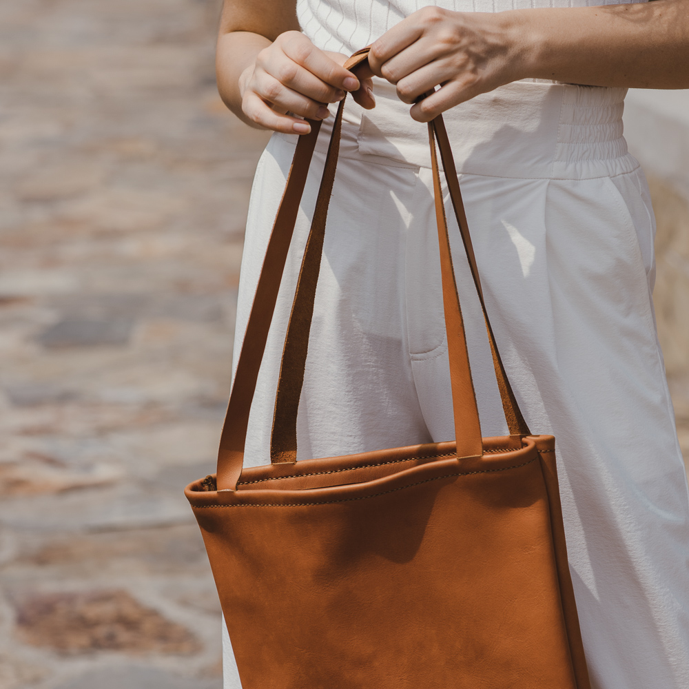 SACH Leather Tote in Tan