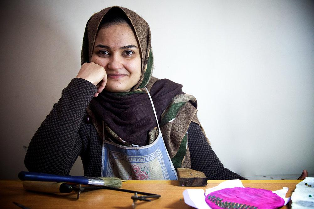 Ethical craftsmanship. Artisan Saeeda, from Kabul Afghanistan.