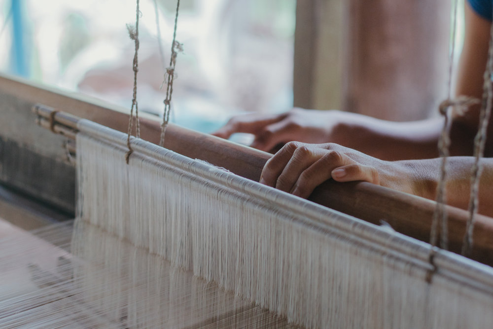 The process of weaving a silk scarf using traditional Japanese Shibori technique. Captured during a field trip to Cambodia.