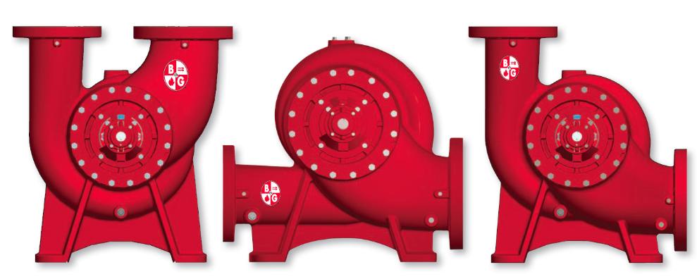 Configurations of vertical split case pumps