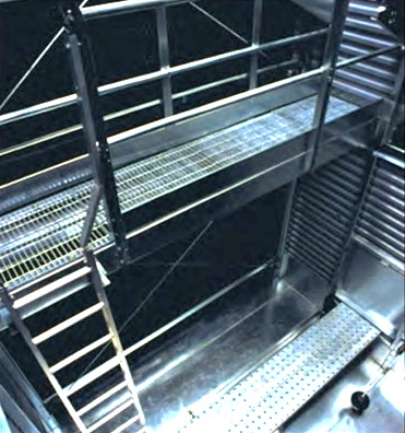 Internal ladder, service platform and walkway in crossflow cooling tower.