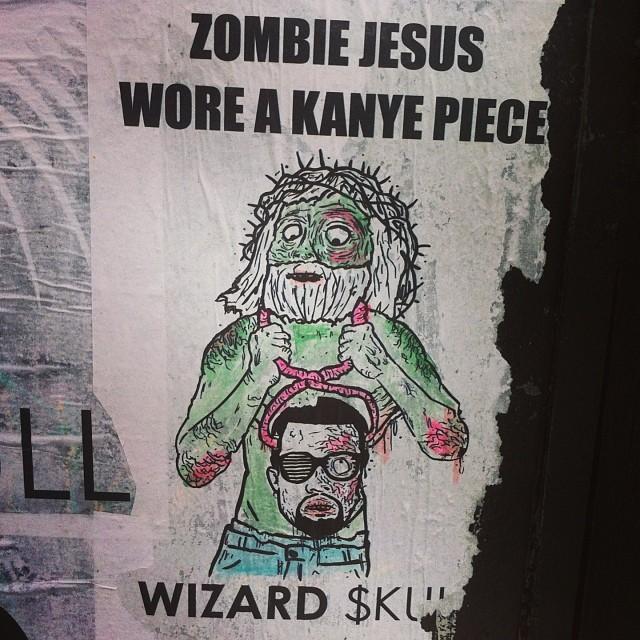 Zombie Jesus Wore A Kanye Piece (by Wizard Skull) #streetart #brooklyn #nyc