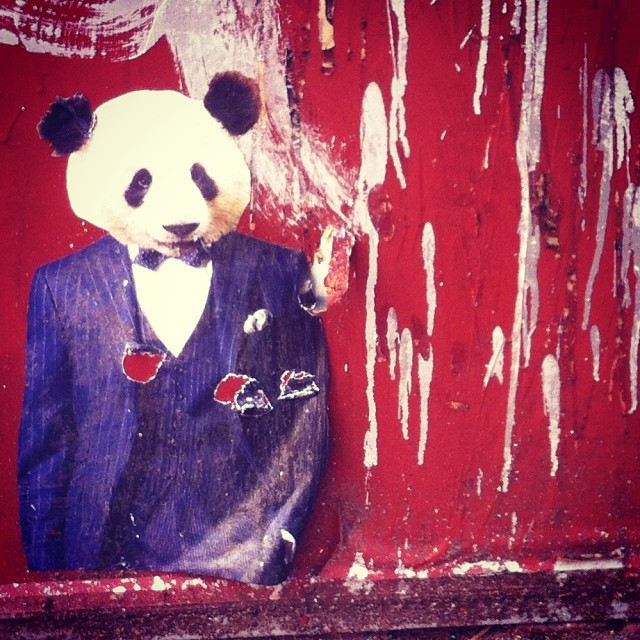 Every girl loves her sharp dressed bear #tvwithcheese #streetart #brooklyn #nyc