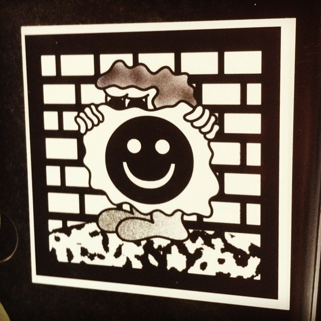 The man behind the smile #streetart #stickerart #brooklyn #nyc #smile #man