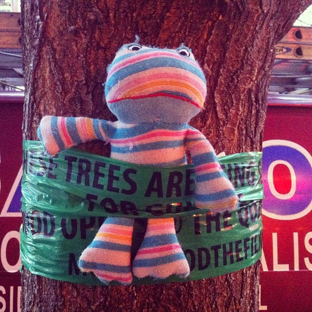 It's tough out here #streetart #brooklyn #nyc #trees #tree #stuffedanimal #leftobject