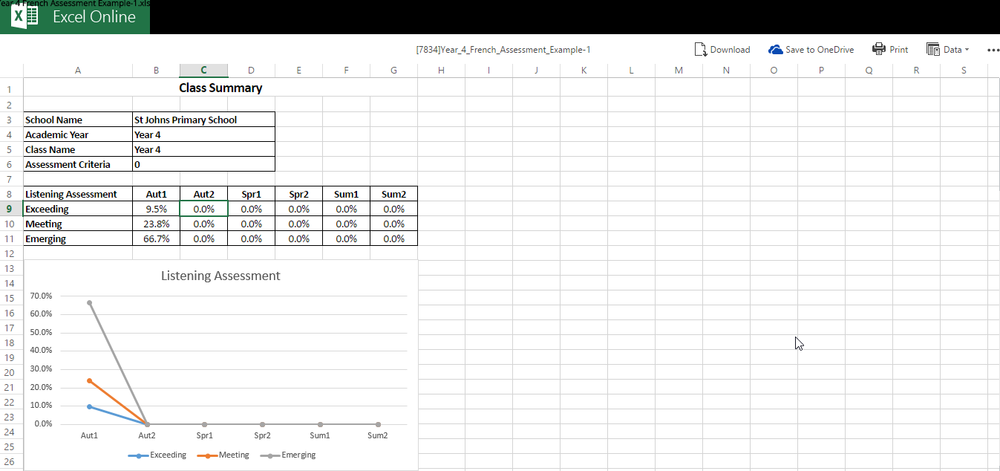 Pupil tracking spreadsheets