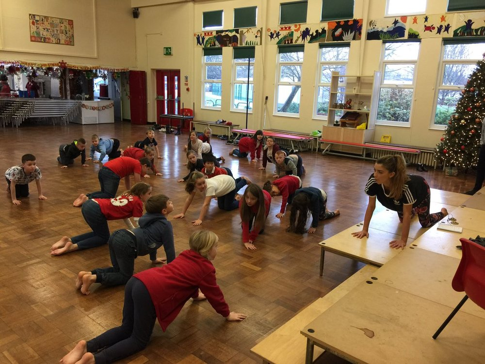 Yoga with French at Dial Park Primary School on a special occasions day at their school