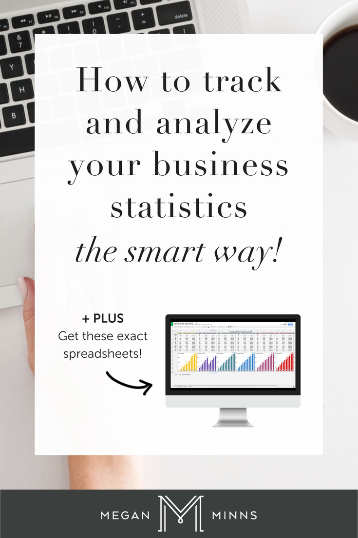 Are you using your business's statistics to help you make informed decisions in your business? Learn my exact process for tracking my business's growth in a way where I can see what is working (and what isn't) in a clear and easy-to-understand way! PLUS, you can get the exact spreadsheets I use too! http://meganminns.com/blog/business-statistics-tracker