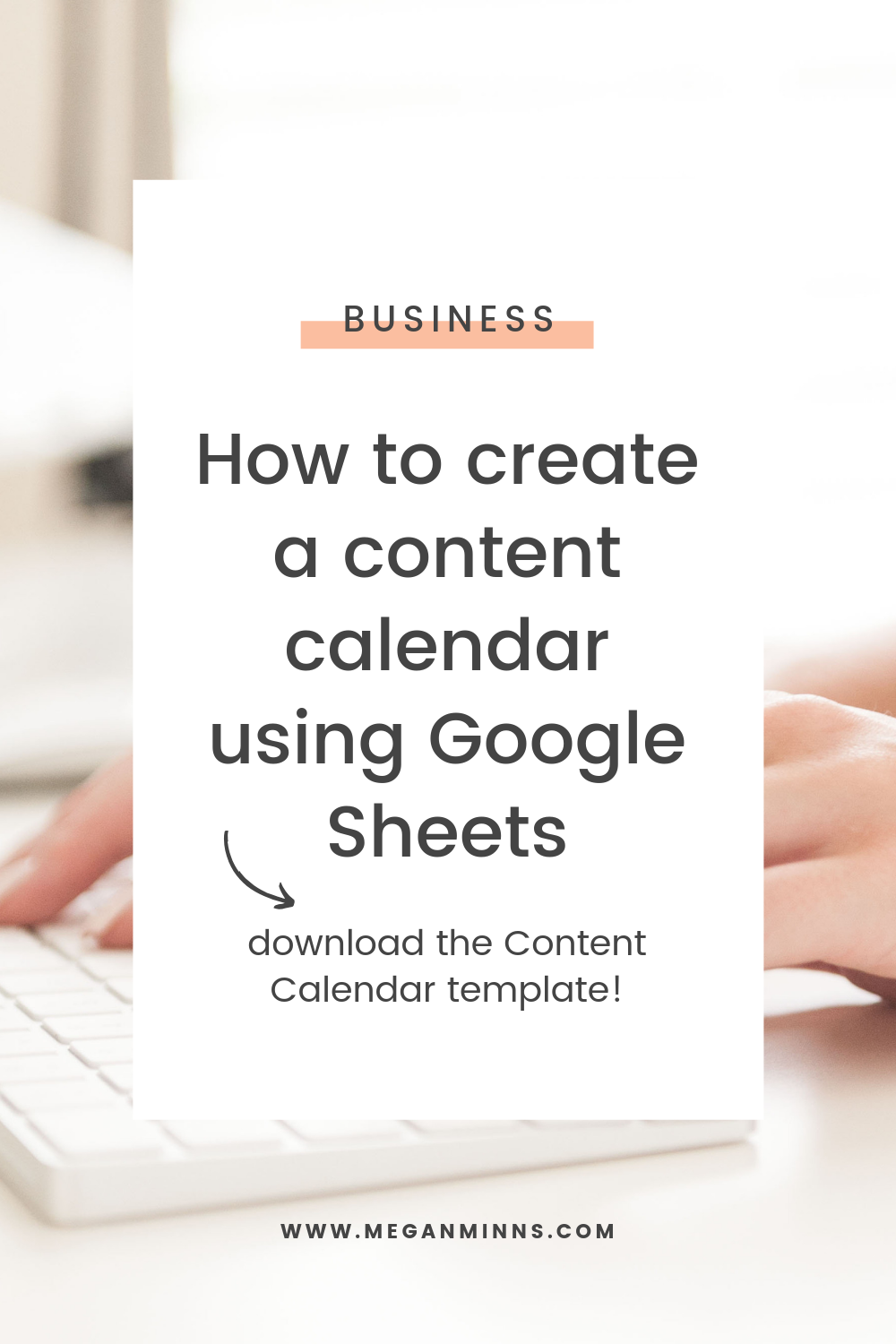 Have you been struggling to consistently plan content? Are you tracking every piece of content that you publish in one place? If you're feeling scattered and want to streamline how you plan content, and you want one easy, central place to do it all, watch this tutorial on creating a content calendar spreadsheet using Google Sheets! You'll learn my exact, easy process, and quickly get started and organized. Watch the full tutorial here: meganminns.com/blog/content-calendar-google-sheets