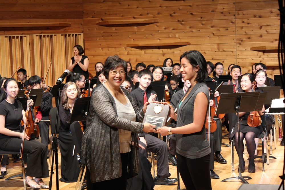 Acknowledging Constance Kaita, first Bravura Youth concertmaster (2010-2012)