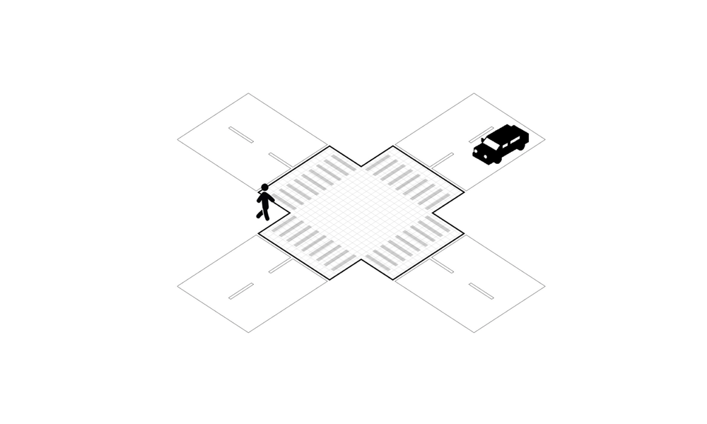The pedestrian is crossing the street.