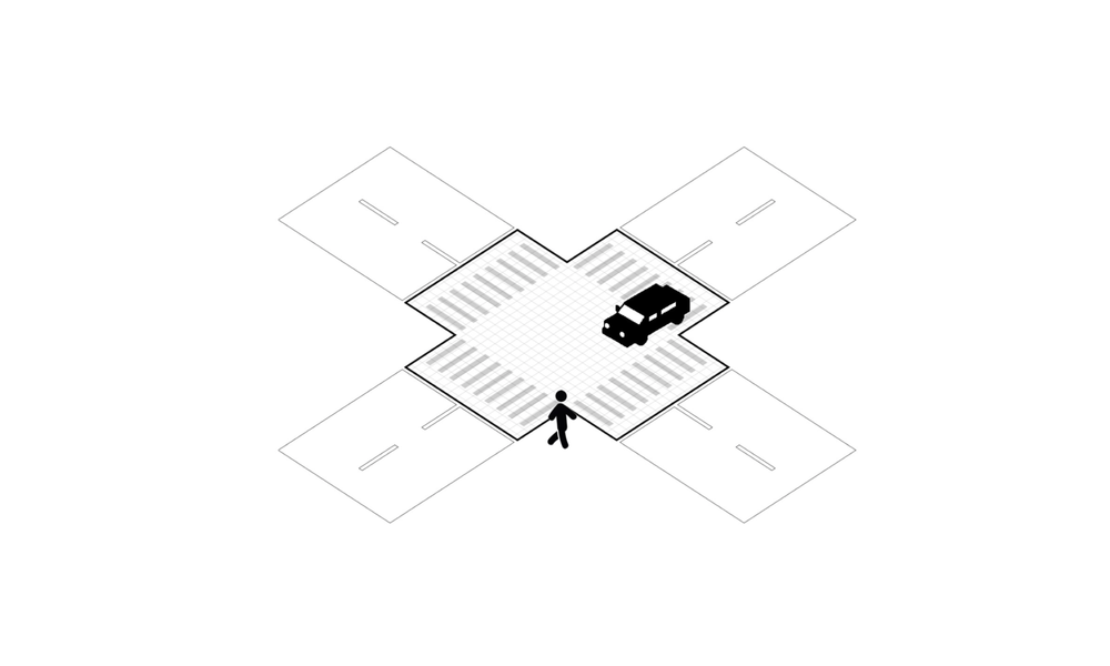 Pedestrian can safely pass through without looking at the road.