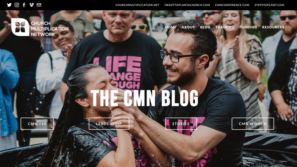 In Summer 2018, CMN launched a new blog on churchmultiplication.net for recent church planting news, videos, and articles. The site has maintained fresh weekly content comprised of CMN <10 videos, AG News stories, leadership columns, CMN Women blog posts, and more.