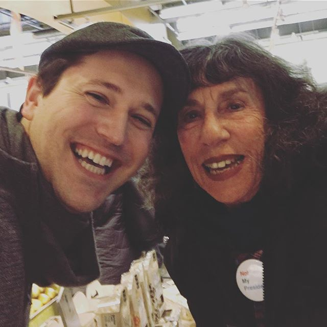 It's always the best when we come across people we love shopping at @wholefoods. Here is Elena from Billy on the Street trying some @yumamifood... #loveher #billyonthestreet