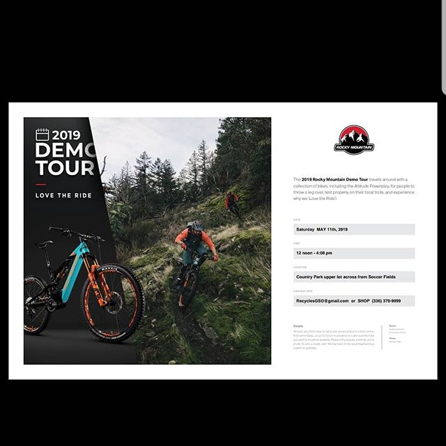 Get ready Greensboro for some wheelie good fun!! Regular bikes and Ebikes from Rocky Mountain will be available for demo at Country Park on Saturday May 11th from 12-4
