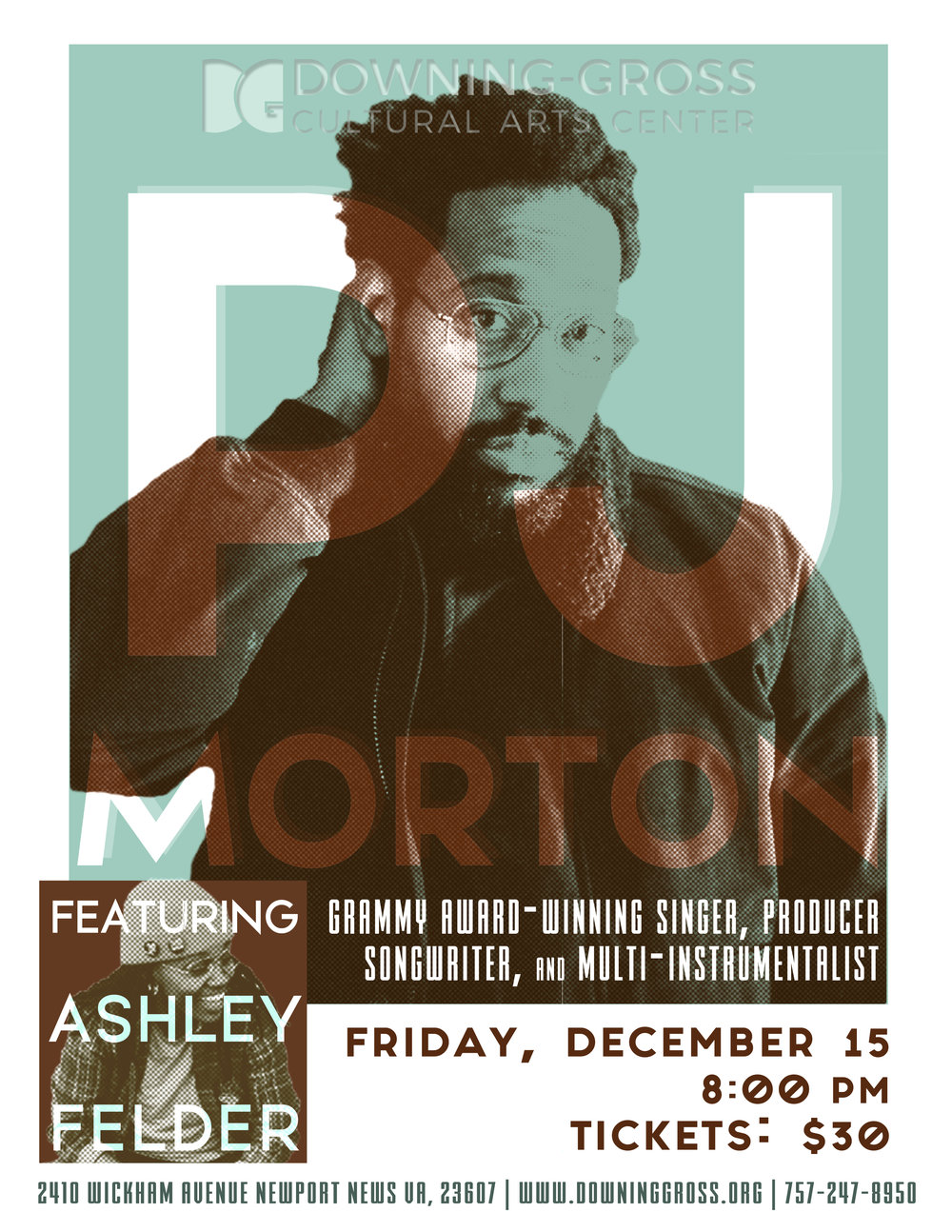 Join us for an unforgettable night of music with one of our hidden gems, Ashley Felder and Grammy Award-winning singer, songwriter, producer, multi-instrumentalist and Maroon 5 keyboardist PJ Morton
