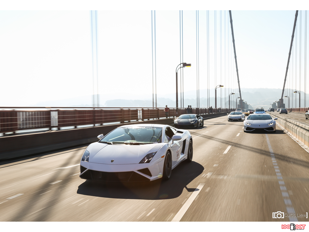 Leading a Lamborghini pack through the Golden Gate! Credits: Curtis Liew