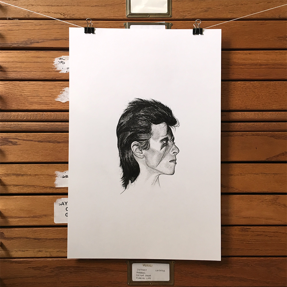 "New in the shop! This David Bowie ink illustration is 12""x18"" and comes signed and dated. There are a number of new one-of-a-kind illustrations in the Fine Art shop section!"