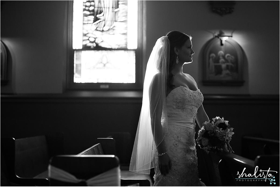 Silhouette of Bride in Catholic Church