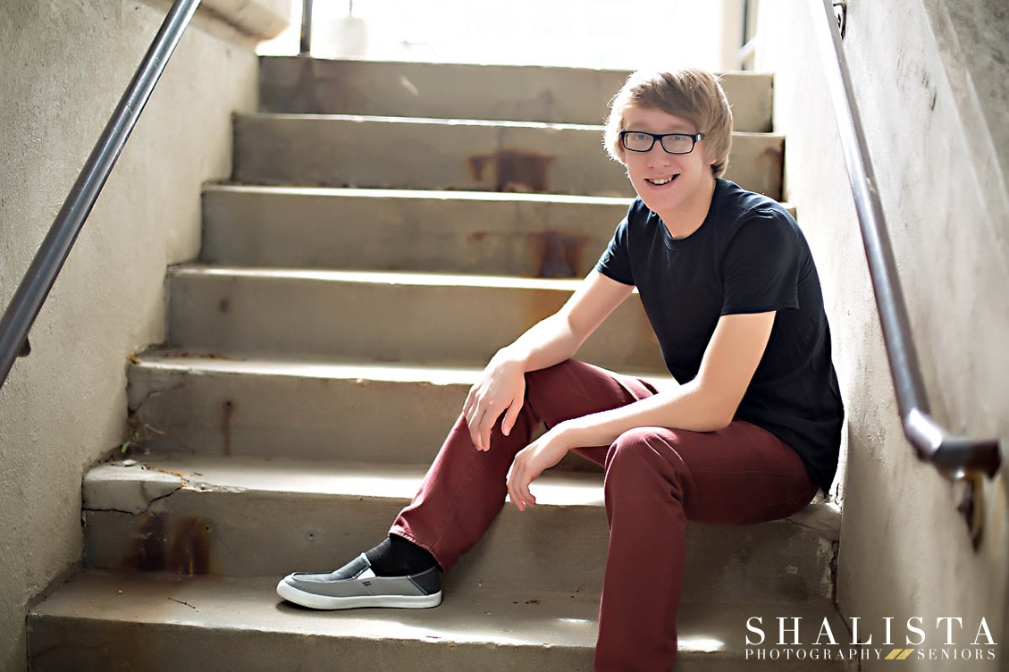 Senior Stairs Downtown Portraits