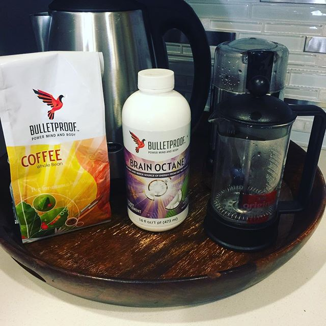 I've been obsessed with #bulletproofcoffee for awhile now, but I finally made a full setup on my counter.  This will make my morning routine way faster instead of grabbing this stuff all over my cabinets and then putting it all away.  Did I just #hack my kitchen? 😊