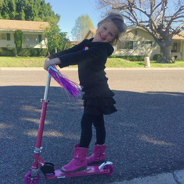 """Bea needed a scooter.  It couldn't just be any scooter though. She wanted fairies or princesses or something """"adorable"""". We negotiated and she agreed to this one because it had a bell.  She's so happy.  #BeatrixAnne"""
