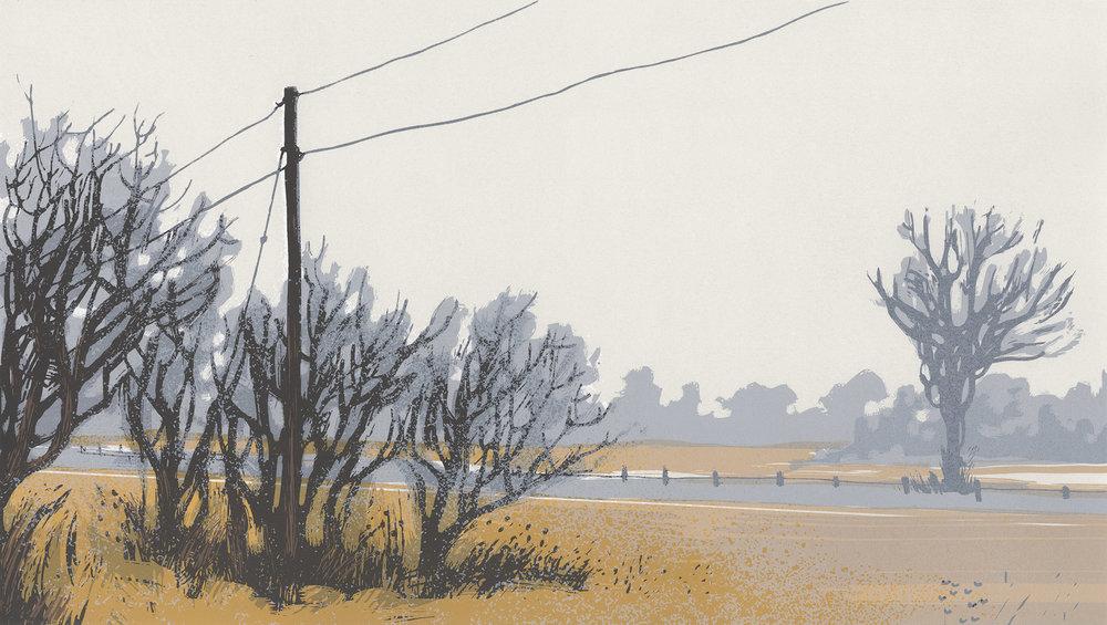 """Roadside Fog"", Between Cities series. Hand-made screenprint on paper."