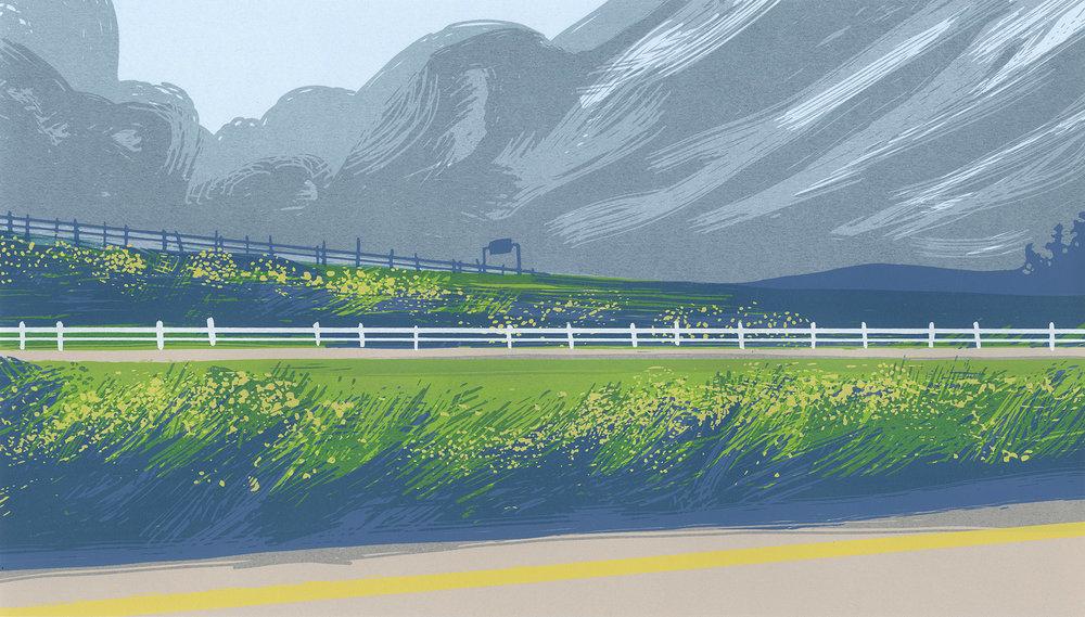 """Green Highways"", Between Cities series. Hand-made screenprint on paper."