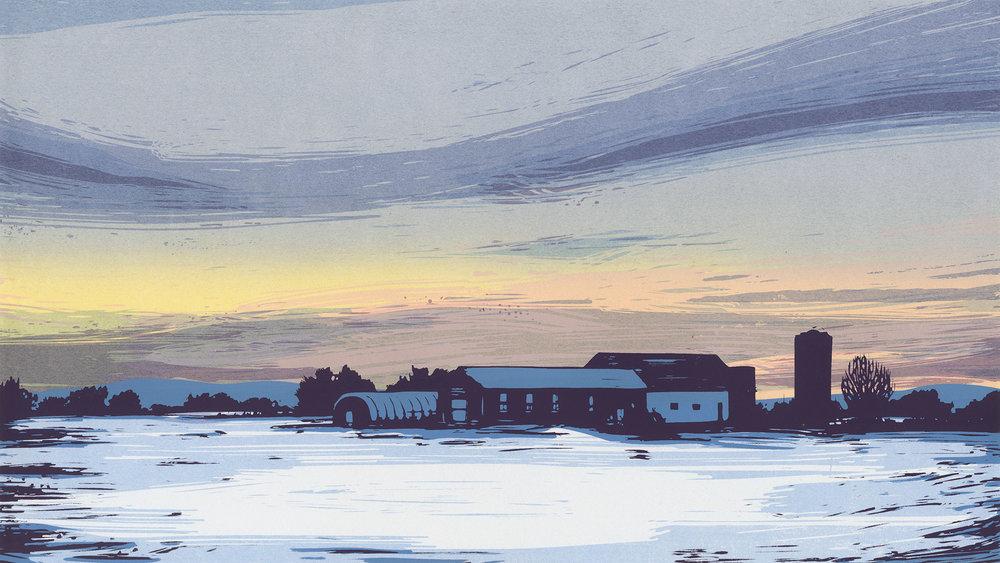 """Dusk farm"", Between Cities series. Hand-made screenprint on paper."