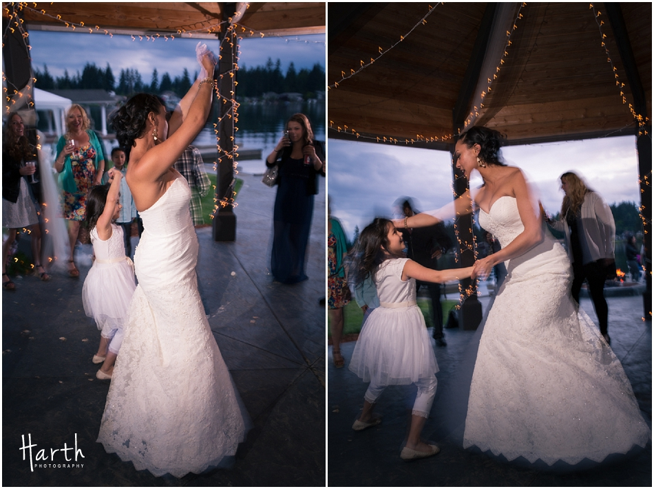 Bride dancing with the flower girl - Harth Photography