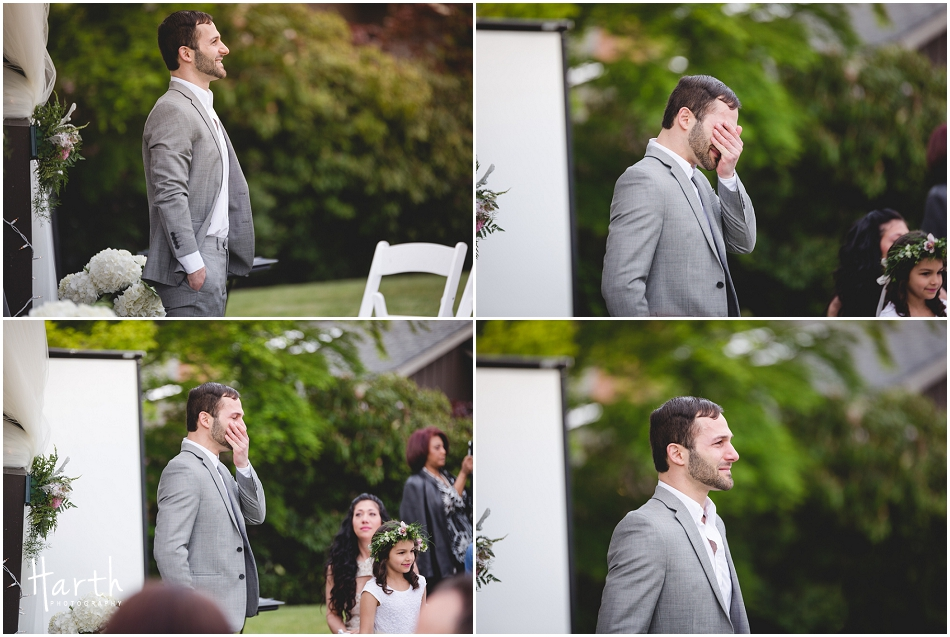 Teary eyed groom sees bride at the ceremony - Harth Photography