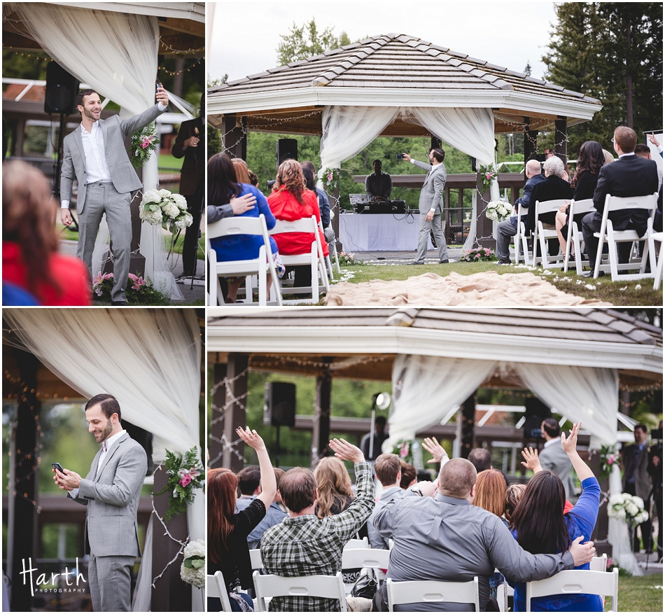 Groom taking selfies w/ the crowd - Harth Photography