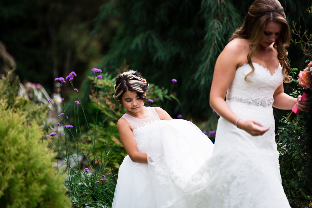Flower Girl Helps Carry Brides Wedding Dress - Snohomish