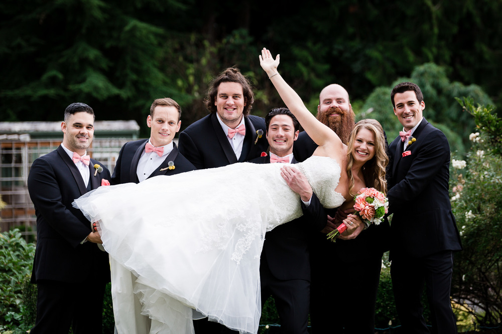Fun Bride Poses with Groomsmen - Snohomish Wedding