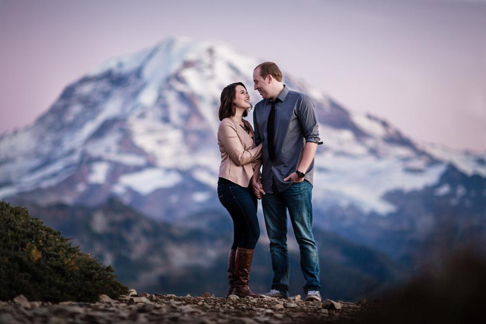Mt. Rainier Sunset Engagement - Tolmie Peak Hike