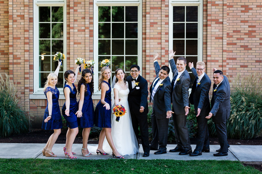 University of Portland Wedding Party on campus