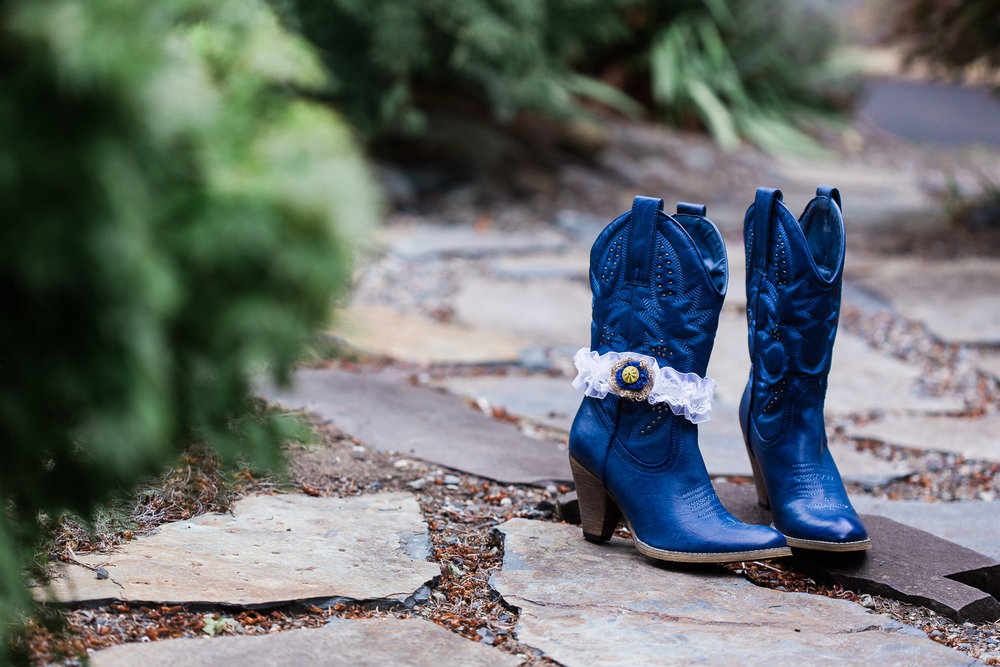 Country Wedding Bride's Blue Boots
