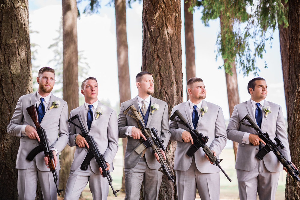 Groomsmen with rifles
