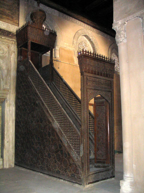 The minbar, or pulpit, with the mihrab along the left side of the picture. (Photo from archnet.org)