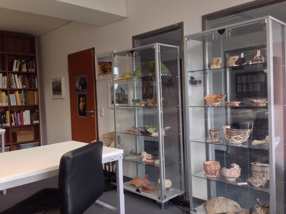 Some of the display cases in the library. This is not even a small portion of the ceramics at the lab.