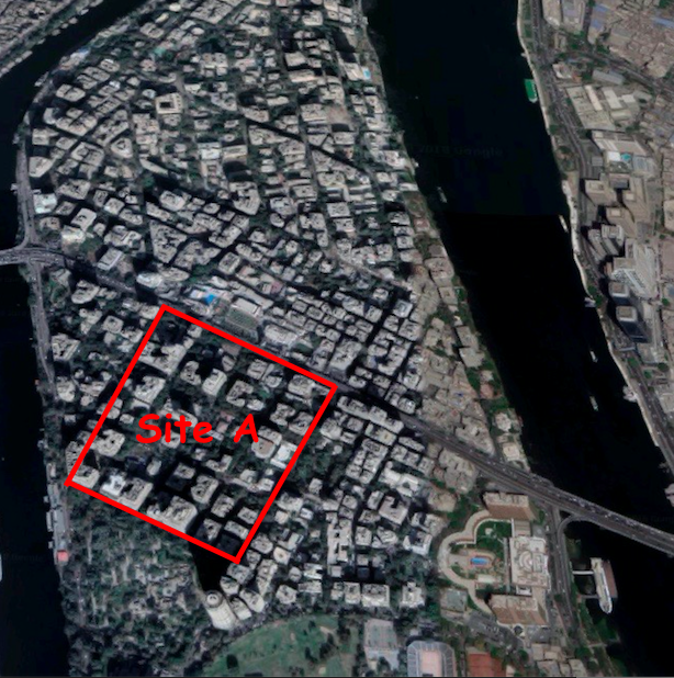 Roughly the same view of the modern site. Site A marked in red. Google Maps, 2018.
