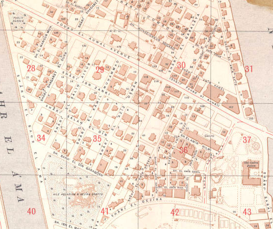 Here it is again, more developed, in a 1937 Residential Map of Gezira, Egyptian Survey Authority (مصلحة المساحة). Rare Books and Special Collections, AUC Library.   Link  .
