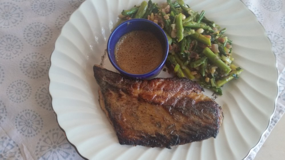 Black Drum with New Orleans BBQ Butter with Asparagus