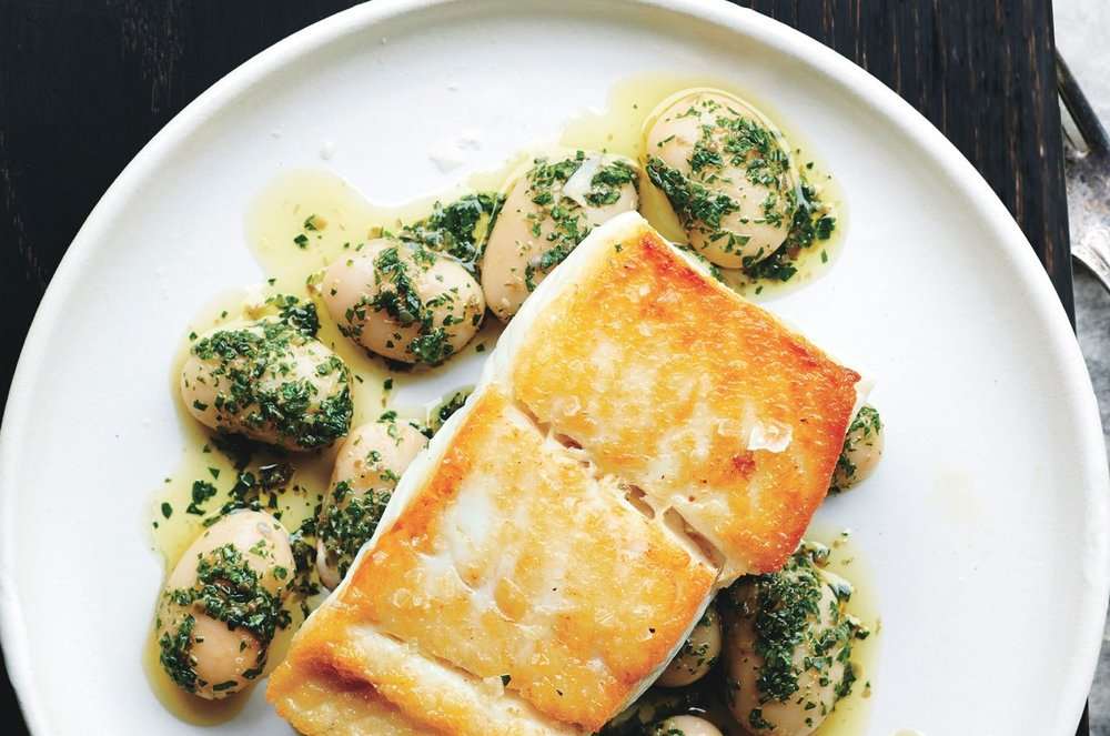 Pan-Roasted Cod with Herbed Butter Beans